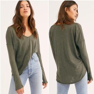 •FREE PEOPLE• Army Green Sienna Long Sleeve Tee